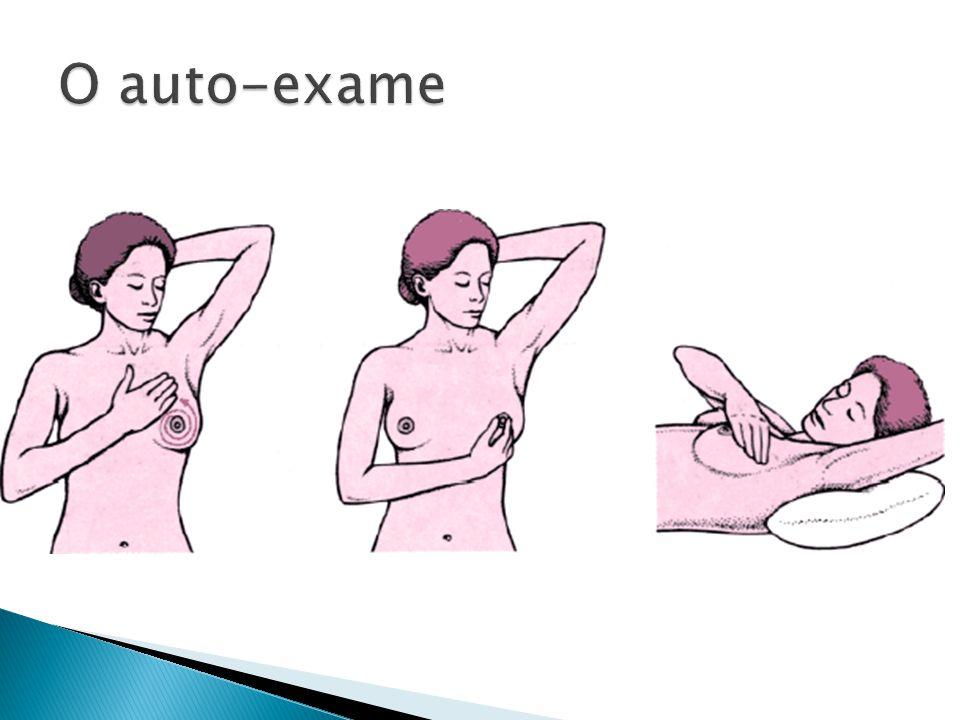 Inspeção Paciente sentada ou em pé, inspecionar a pele das axilas Palpação Palpar linfonodos axilares e adjacentes, paciente sentado ou em pé com braços relaxados