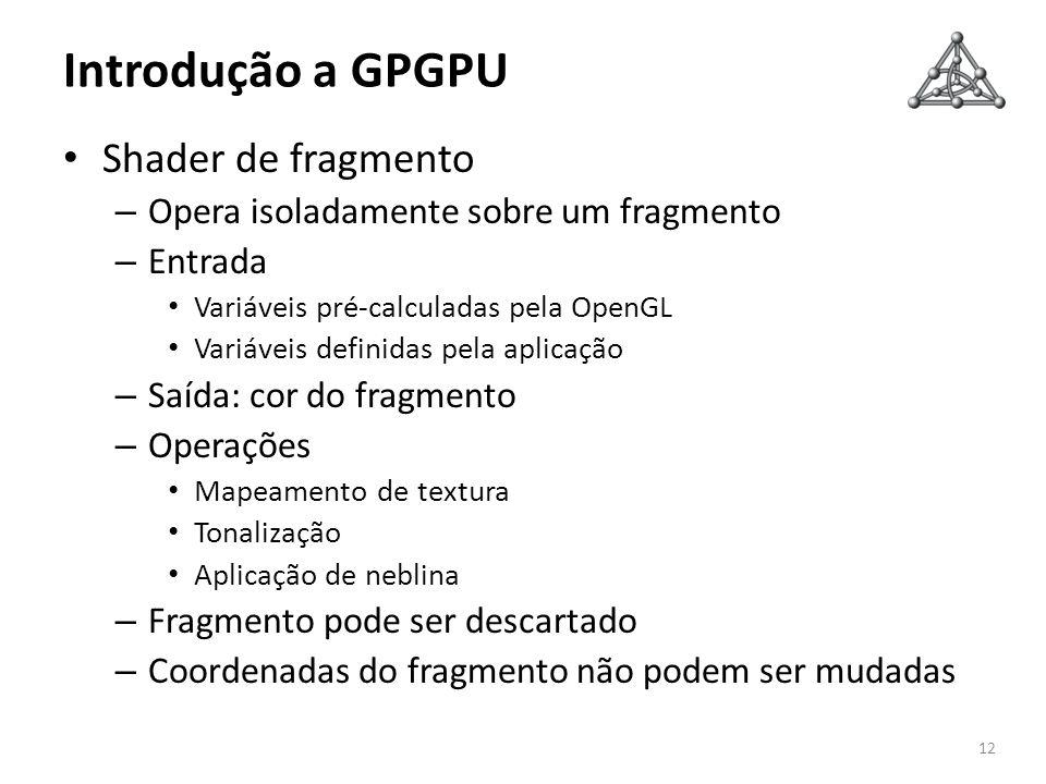 Introdução a GPGPU Shader de fragmento – Opera isoladamente sobre um fragmento – Entrada Variáveis pré-calculadas pela OpenGL Variáveis definidas pela