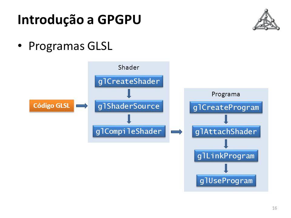 Introdução a GPGPU Programas GLSL 16 Programa glCreateProgram glAttachShader glLinkProgram glUseProgram Shader glCreateShader glShaderSource glCompile