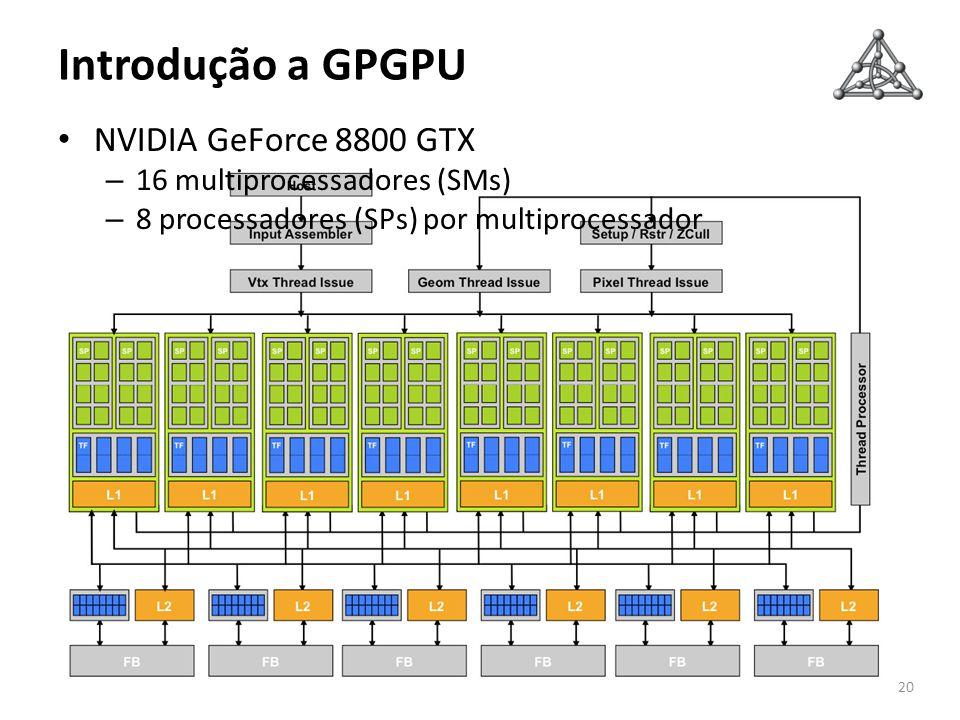 Introdução a GPGPU 20 NVIDIA GeForce 8800 GTX – 16 multiprocessadores (SMs) – 8 processadores (SPs) por multiprocessador