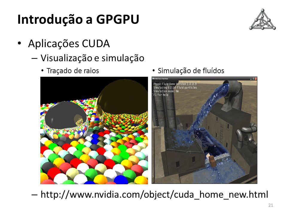 Introdução a GPGPU Aplicações CUDA – Visualização e simulação – http://www.nvidia.com/object/cuda_home_new.html 21 Traçado de raios Simulação de fluíd