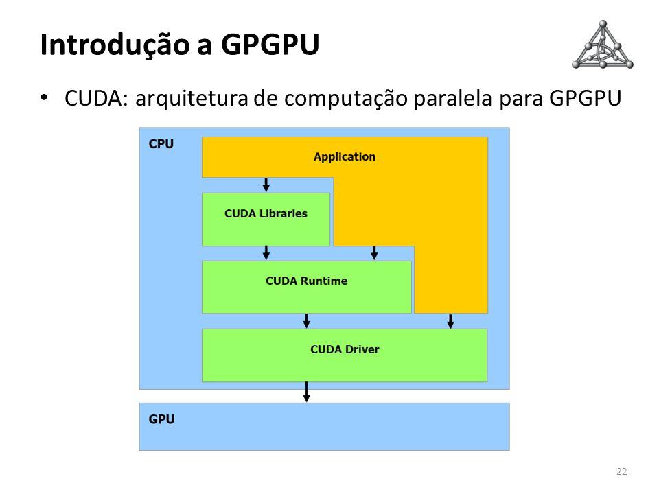 Introdução a GPGPU CUDA: arquitetura de computação paralela para GPGPU 22