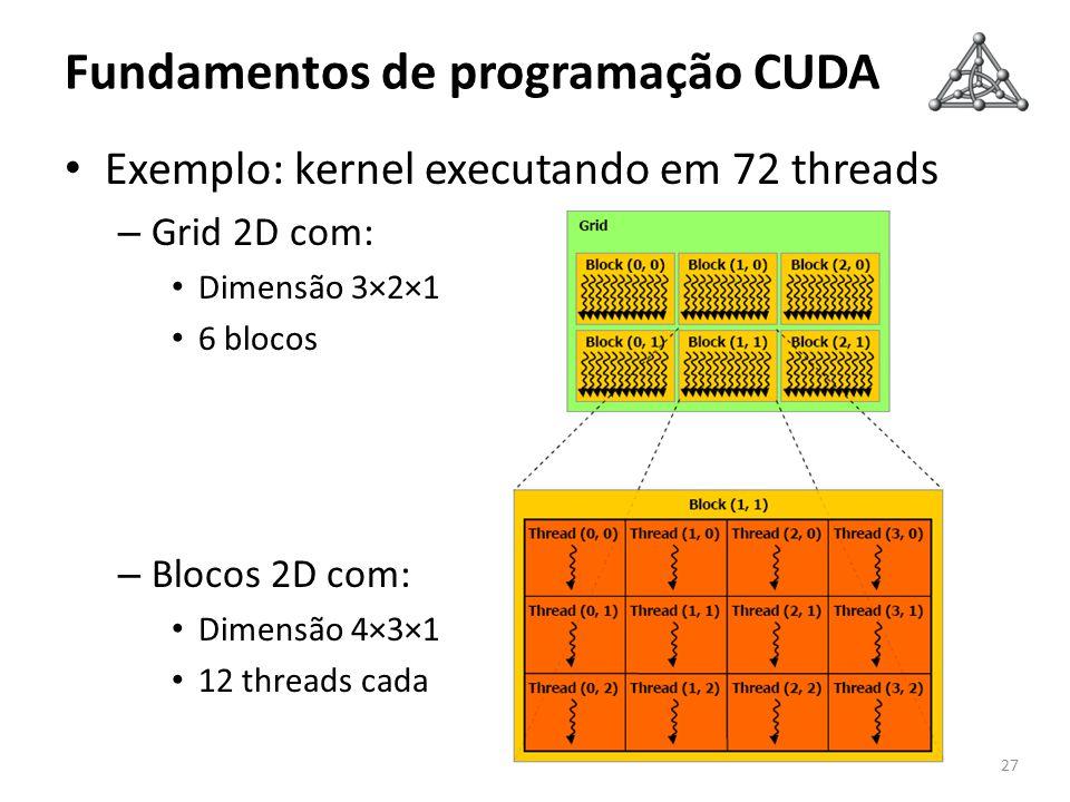 Fundamentos de programação CUDA Exemplo: kernel executando em 72 threads – Grid 2D com: Dimensão 3×2×1 6 blocos – Blocos 2D com: Dimensão 4×3×1 12 thr