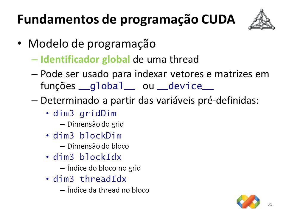 Fundamentos de programação CUDA Modelo de programação – Identificador global de uma thread – Pode ser usado para indexar vetores e matrizes em funções