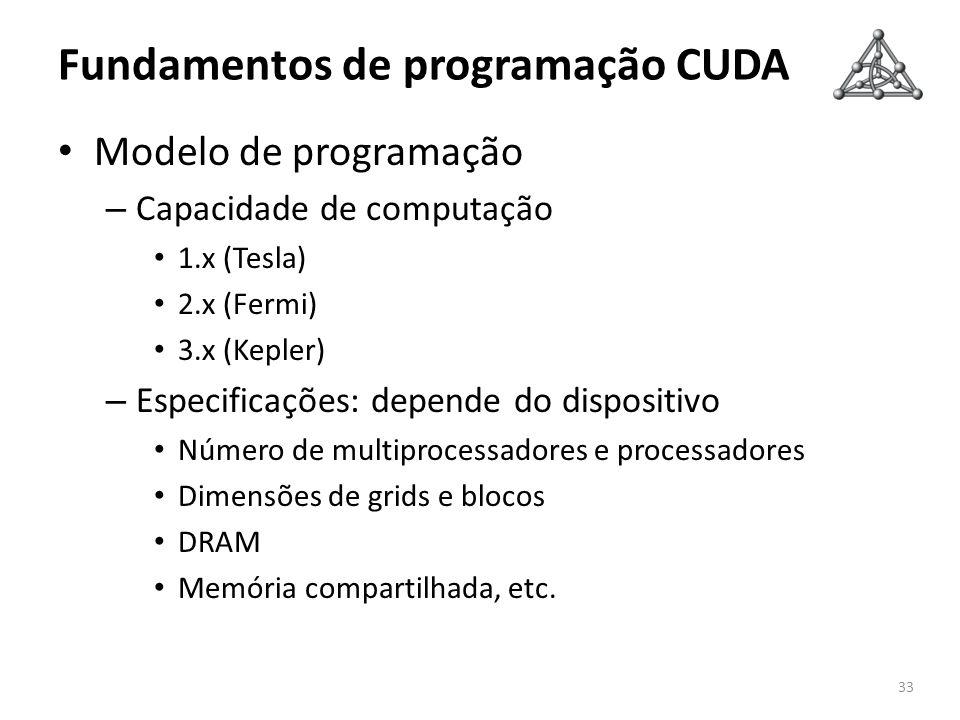 Fundamentos de programação CUDA Modelo de programação – Capacidade de computação 1.x (Tesla) 2.x (Fermi) 3.x (Kepler) – Especificações: depende do dis