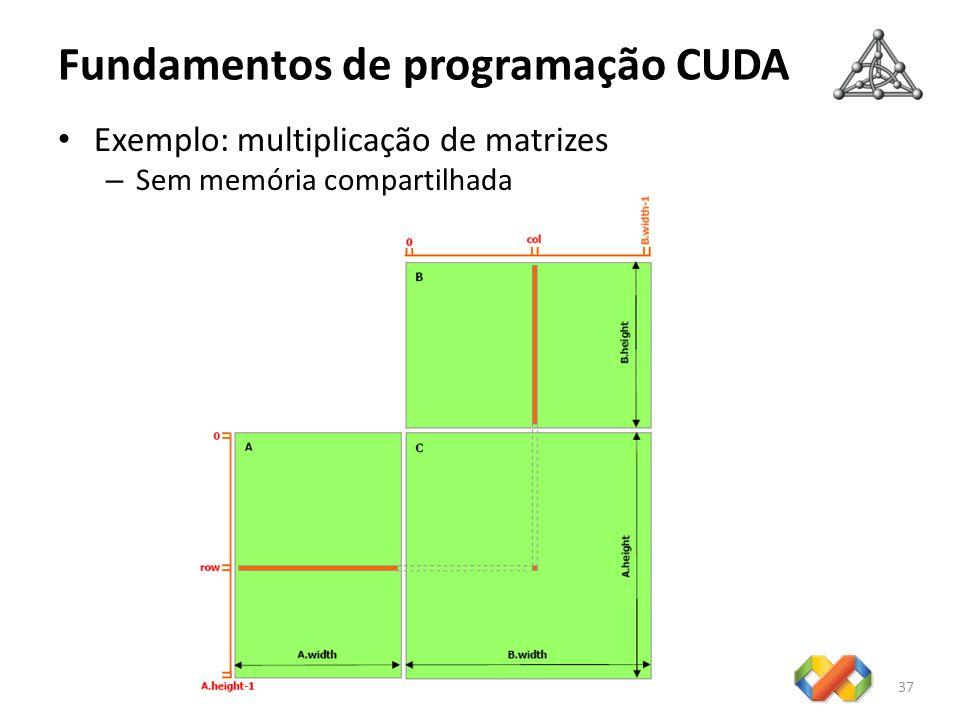 Fundamentos de programação CUDA 37 Exemplo: multiplicação de matrizes – Sem memória compartilhada