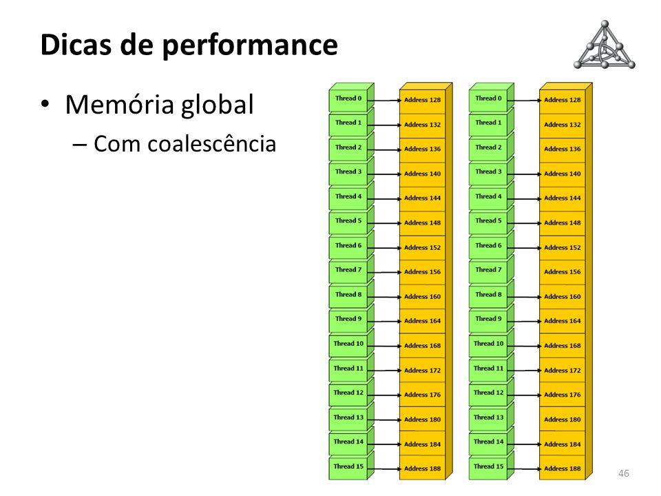 Dicas de performance Memória global – Com coalescência 46