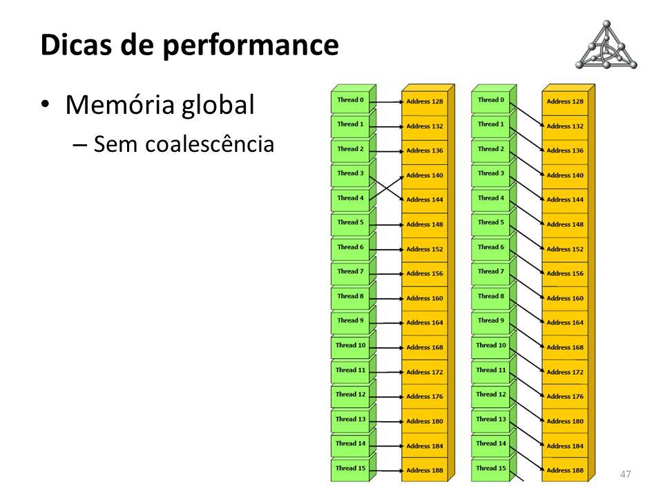 Dicas de performance 47 Memória global – Sem coalescência