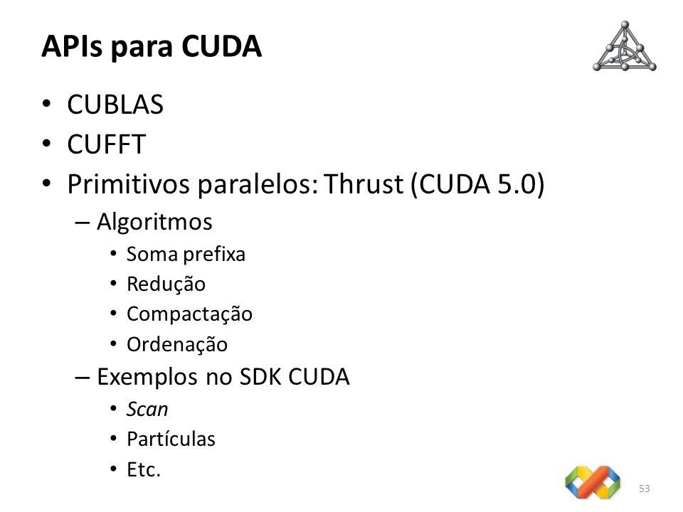 APIs para CUDA CUBLAS CUFFT Primitivos paralelos: Thrust (CUDA 5.0) – Algoritmos Soma prefixa Redução Compactação Ordenação – Exemplos no SDK CUDA Sca