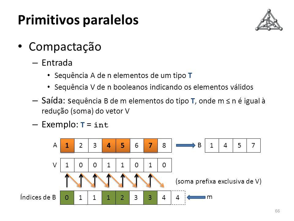 Primitivos paralelos Compactação – Entrada Sequência A de n elementos de um tipo T Sequência V de n booleanos indicando os elementos válidos – Saída: