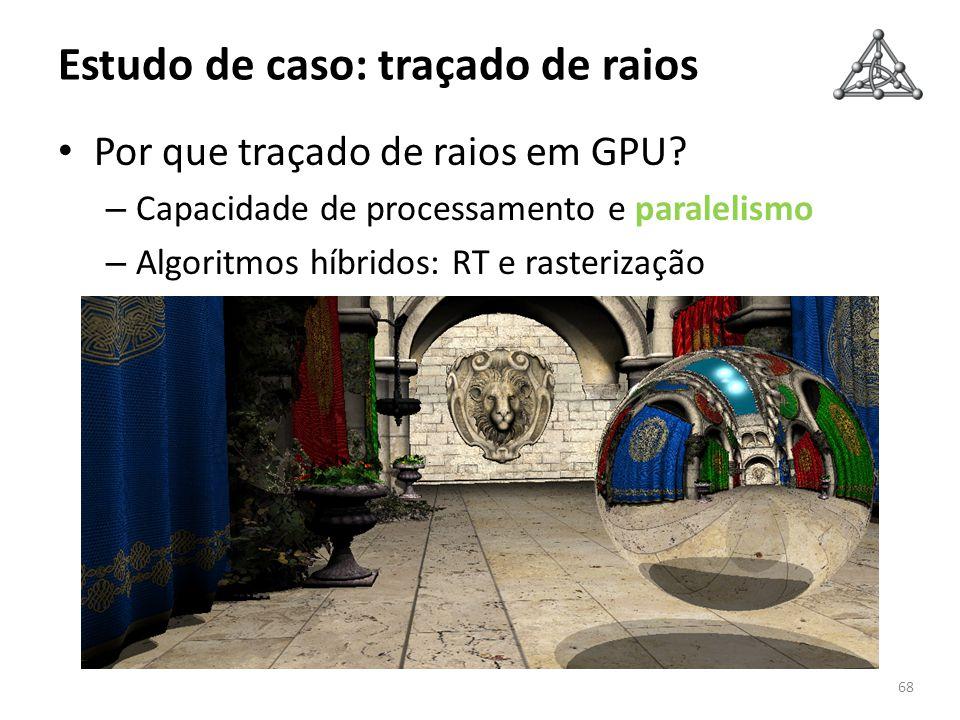 Estudo de caso: traçado de raios Por que traçado de raios em GPU? – Capacidade de processamento e paralelismo – Algoritmos híbridos: RT e rasterização