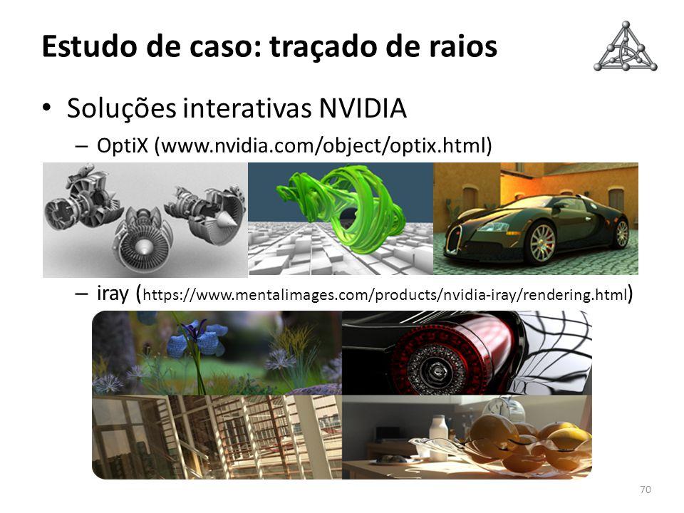 Estudo de caso: traçado de raios Soluções interativas NVIDIA – OptiX (www.nvidia.com/object/optix.html) – iray ( https://www.mentalimages.com/products