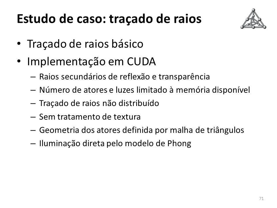 Estudo de caso: traçado de raios Traçado de raios básico Implementação em CUDA – Raios secundários de reflexão e transparência – Número de atores e lu
