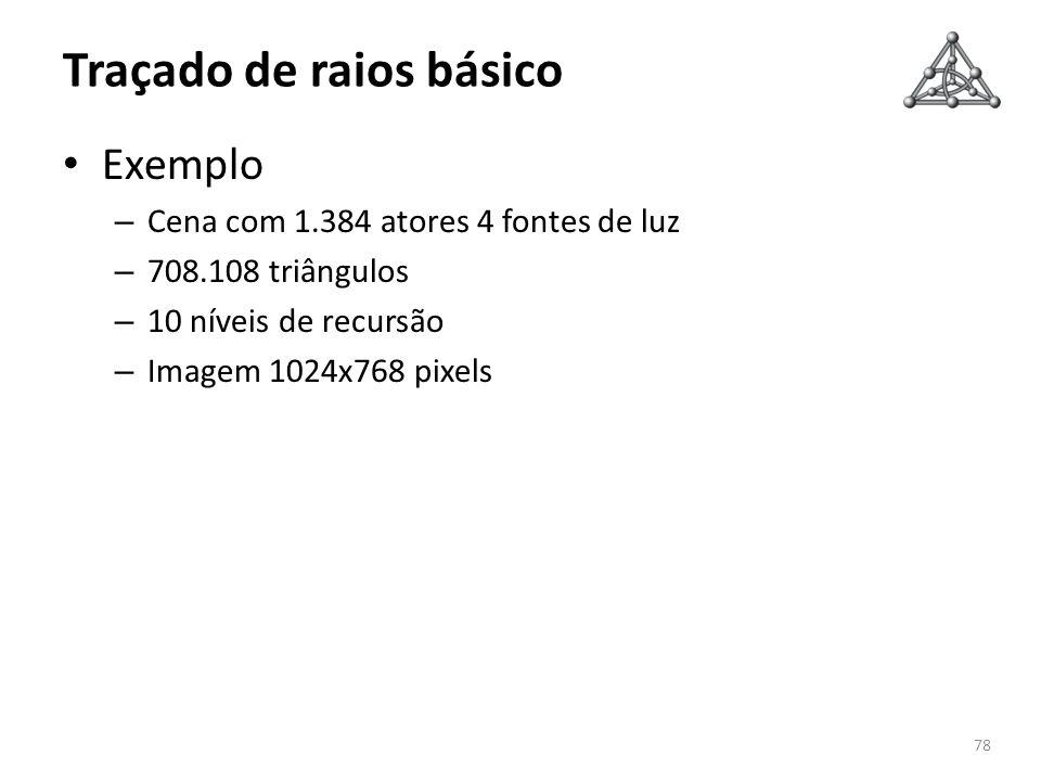 Traçado de raios básico Exemplo – Cena com 1.384 atores 4 fontes de luz – 708.108 triângulos – 10 níveis de recursão – Imagem 1024x768 pixels 78