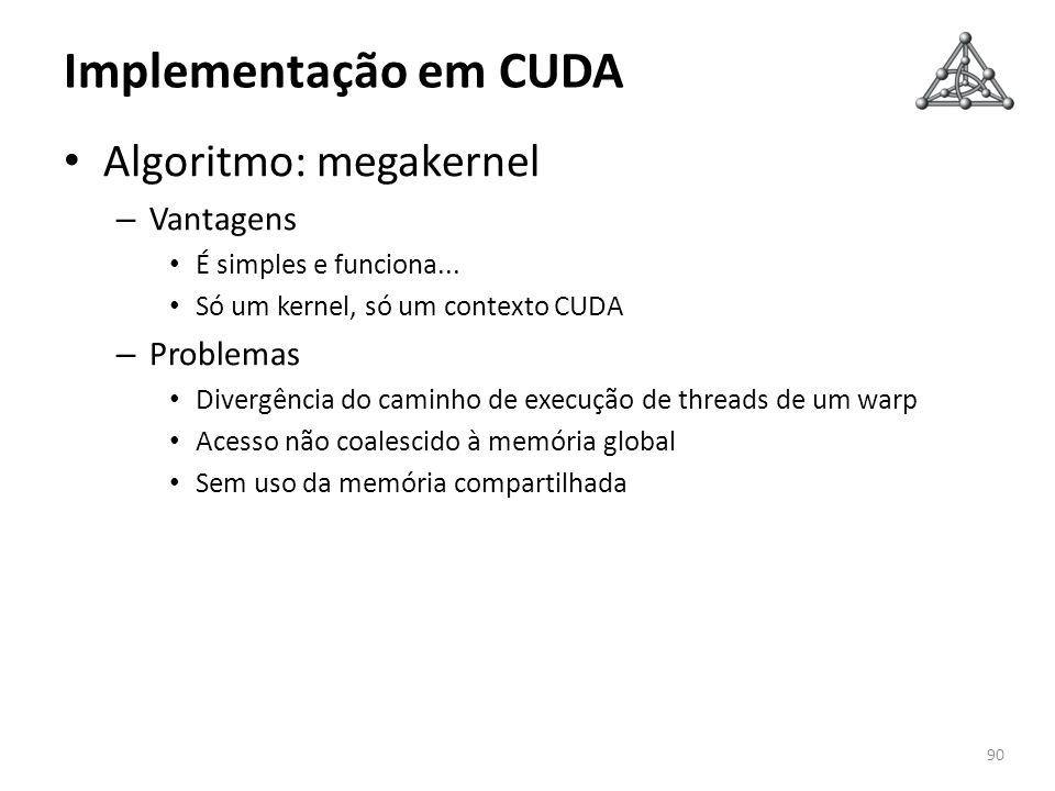 Implementação em CUDA Algoritmo: megakernel – Vantagens É simples e funciona... Só um kernel, só um contexto CUDA – Problemas Divergência do caminho d