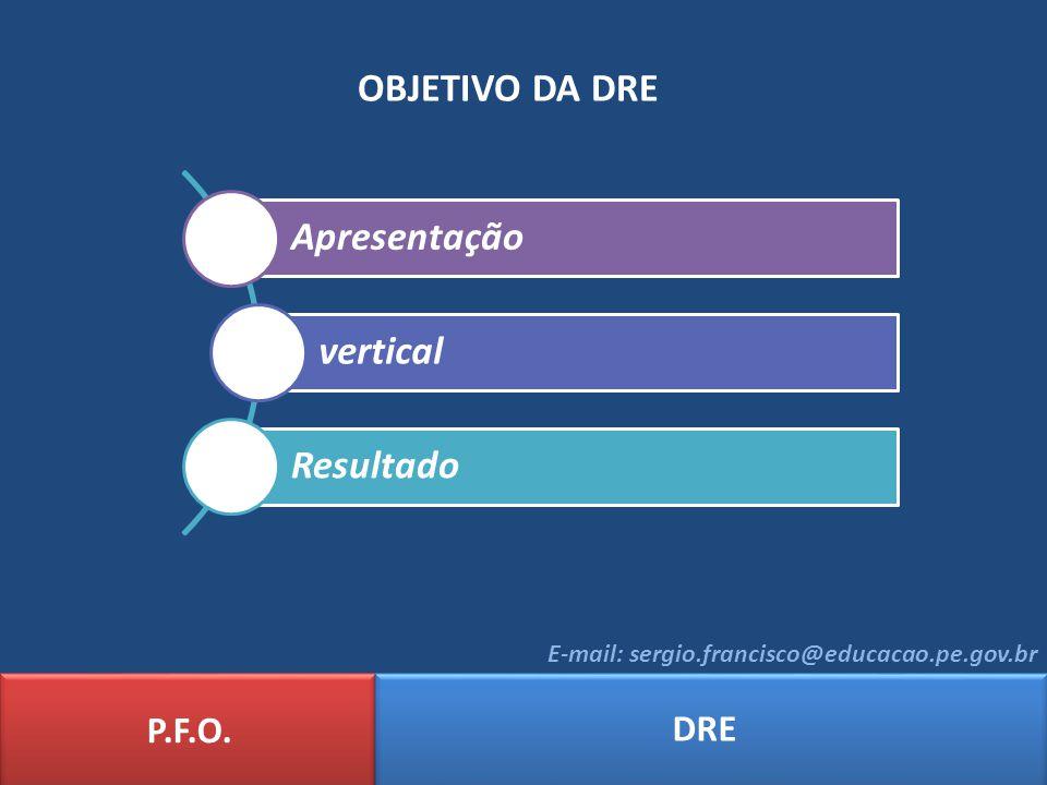 OBJETIVO DA DRE P.F.O. DRE E-mail: sergio.francisco@educacao.pe.gov.br Apresentação vertical Resultado