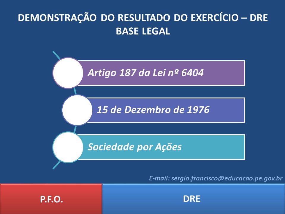DEMONSTRAÇÃO DO RESULTADO DO EXERCÍCIO – DRE BASE LEGAL P.F.O. DRE E-mail: sergio.francisco@educacao.pe.gov.br Artigo 187 da Lei nº 6404 15 de Dezembr