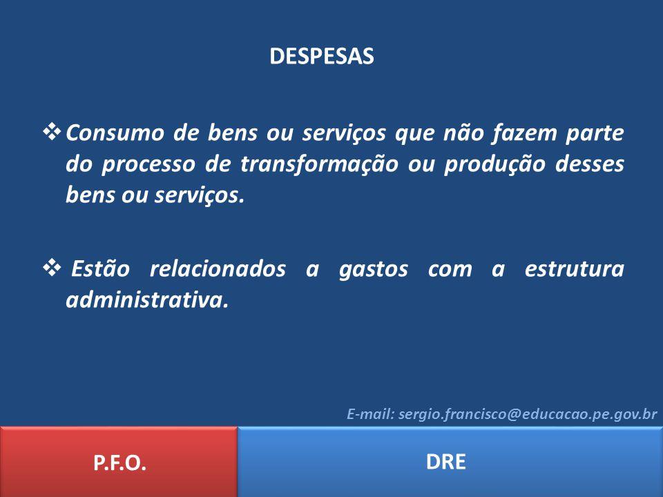 DESPESAS P.F.O. DRE E-mail: sergio.francisco@educacao.pe.gov.br Consumo de bens ou serviços que não fazem parte do processo de transformação ou produç