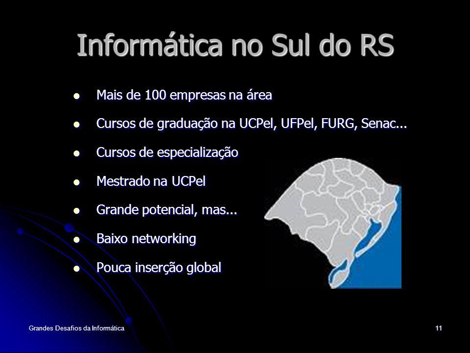 Grandes Desafios da Informática11 Informática no Sul do RS Mais de 100 empresas na área Mais de 100 empresas na área Cursos de graduação na UCPel, UFPel, FURG, Senac...