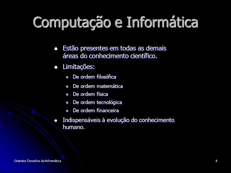 Grandes Desafios da Informática4 Computação e Informática Estão presentes em todas as demais áreas do conhecimento científico.