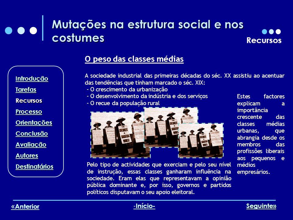 Mutações na estrutura social e nos costumes Recursos O peso das classes médias A sociedade industrial das primeiras décadas do séc. XX assistiu ao ace