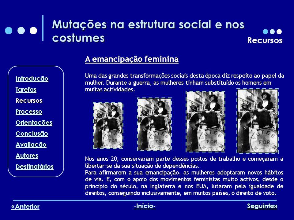 Mutações na estrutura social e nos costumes Recursos A emancipação feminina Uma das grandes transformações sociais desta época diz respeito ao papel d