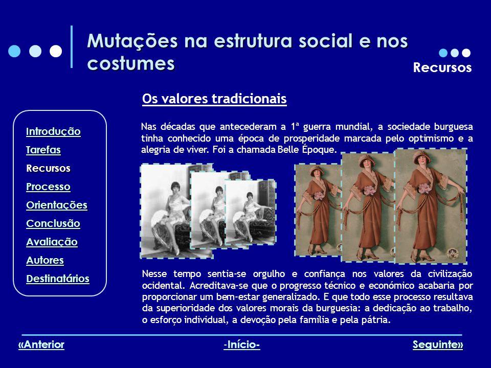 Mutações na estrutura social e nos costumes Recursos Os valores tradicionais Nas décadas que antecederam a 1ª guerra mundial, a sociedade burguesa tin