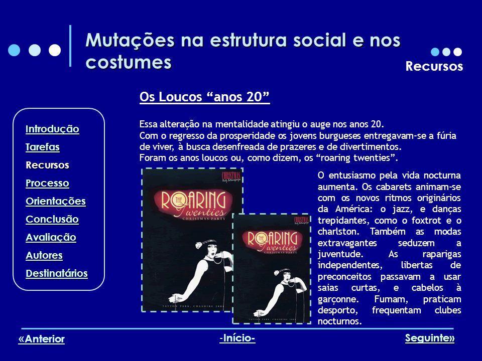 Mutações na estrutura social e nos costumes Recursos Os Loucos anos 20 Essa alteração na mentalidade atingiu o auge nos anos 20. Com o regresso da pro