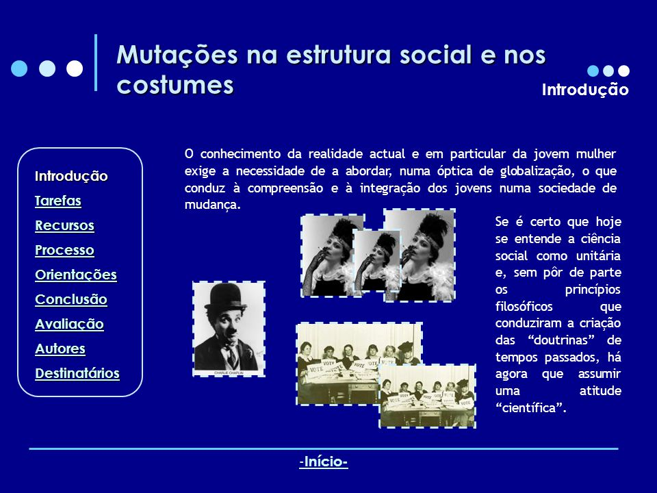 Mutações na estrutura social e nos costumes Recursos A emancipação feminina Uma das grandes transformações sociais desta época diz respeito ao papel da mulher.
