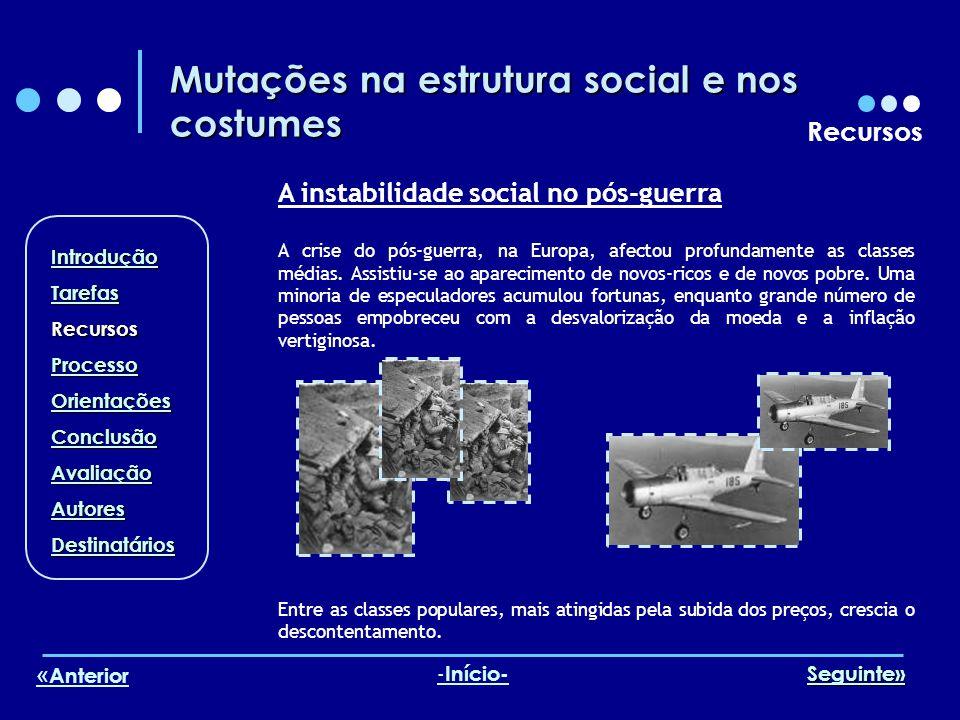 Mutações na estrutura social e nos costumes Recursos A instabilidade social no pós-guerra A crise do pós-guerra, na Europa, afectou profundamente as c