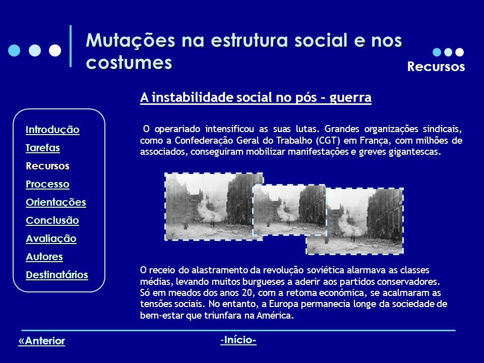 Mutações na estrutura social e nos costumes Recursos A instabilidade social no pós - guerra O operariado intensificou as suas lutas. Grandes organizaç