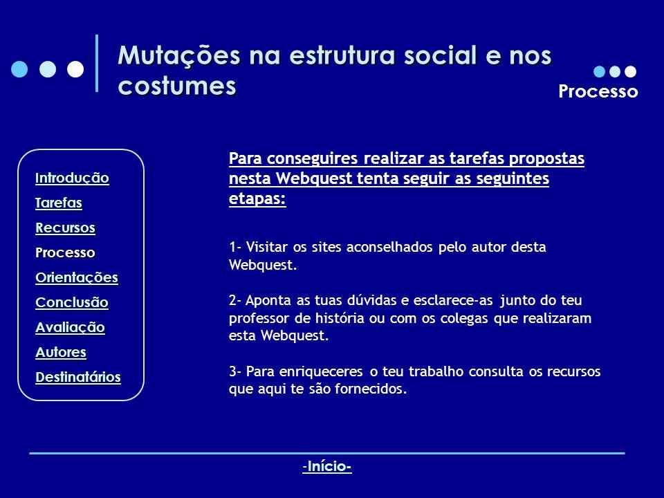Mutações na estrutura social e nos costumes Processo Para conseguires realizar as tarefas propostas nesta Webquest tenta seguir as seguintes etapas: 1