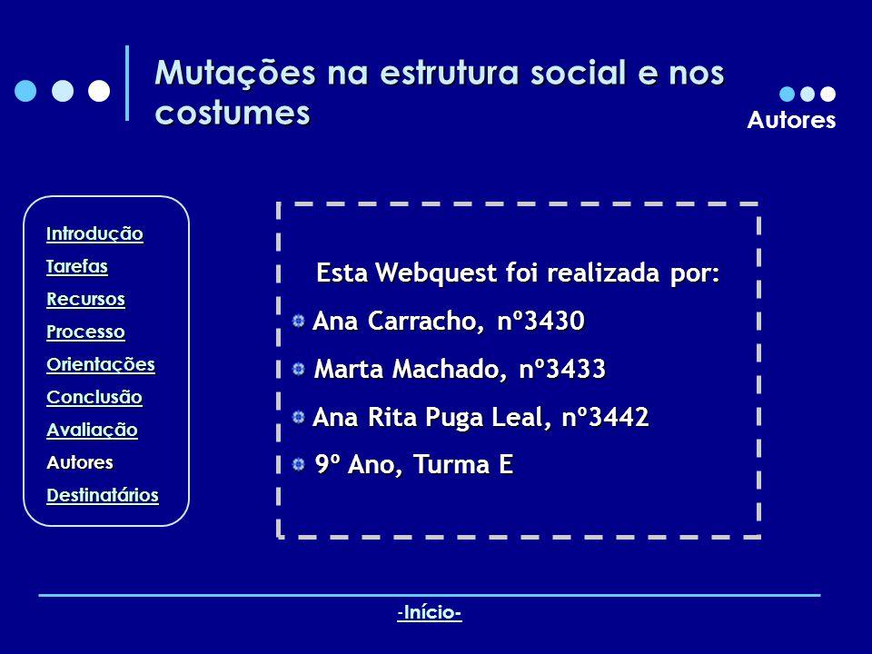 Mutações na estrutura social e nos costumes Autores Esta Webquest foi realizada por: Ana Carracho, nº3430 Ana Carracho, nº3430 Marta Machado, nº3433 M