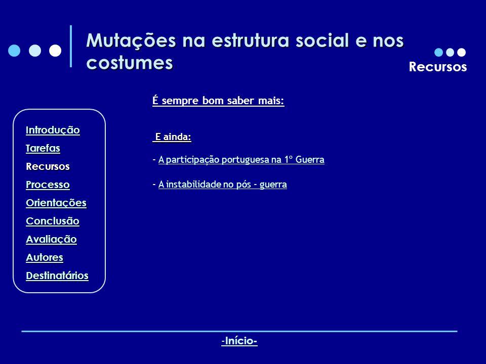 Mutações na estrutura social e nos costumes Recursos É sempre bom saber mais: E ainda: E ainda: - A participação portuguesa na 1º GuerraA participação