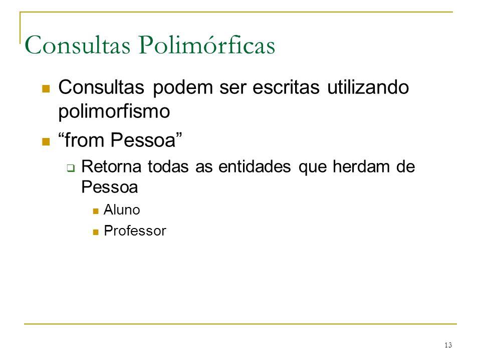 13 Consultas Polimórficas Consultas podem ser escritas utilizando polimorfismo from Pessoa Retorna todas as entidades que herdam de Pessoa Aluno Profe
