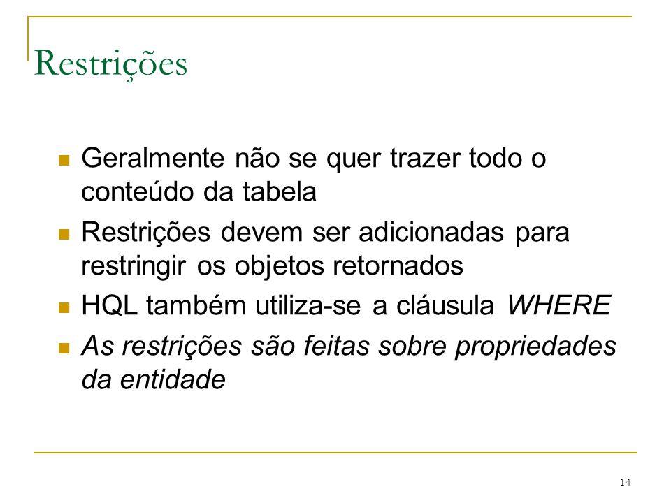 14 Restrições Geralmente não se quer trazer todo o conteúdo da tabela Restrições devem ser adicionadas para restringir os objetos retornados HQL també