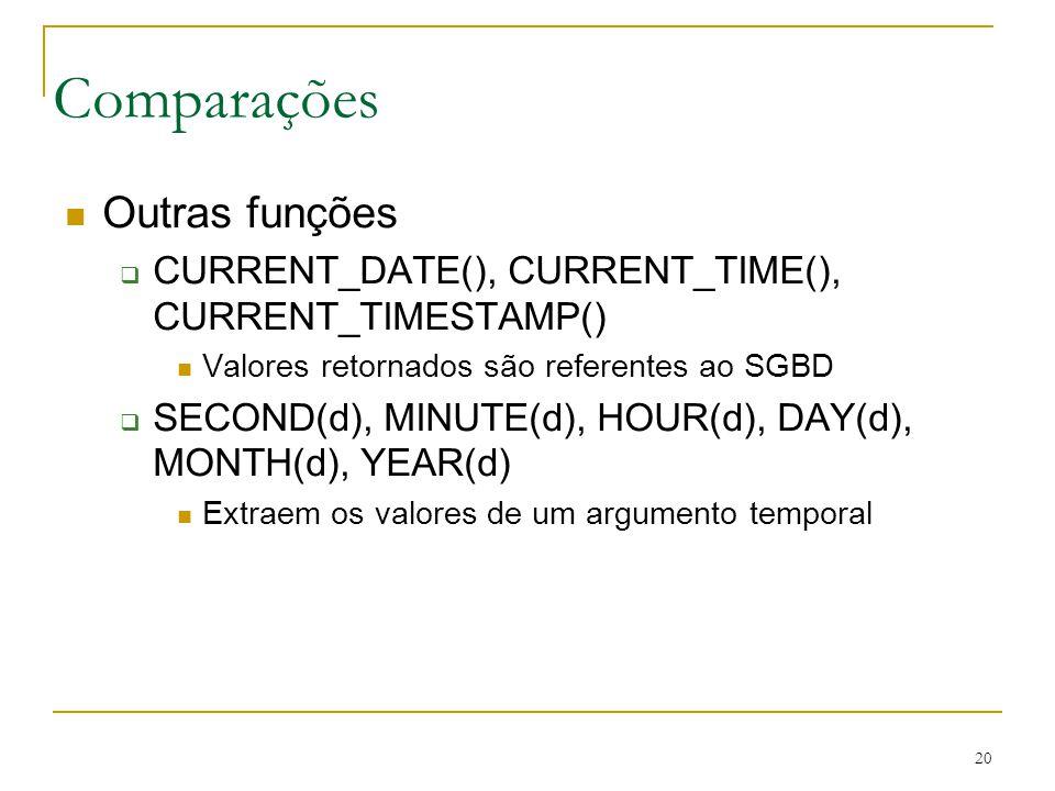 20 Comparações Outras funções CURRENT_DATE(), CURRENT_TIME(), CURRENT_TIMESTAMP() Valores retornados são referentes ao SGBD SECOND(d), MINUTE(d), HOUR