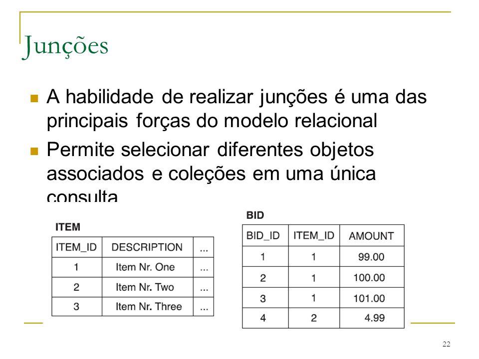 22 Junções A habilidade de realizar junções é uma das principais forças do modelo relacional Permite selecionar diferentes objetos associados e coleçõ