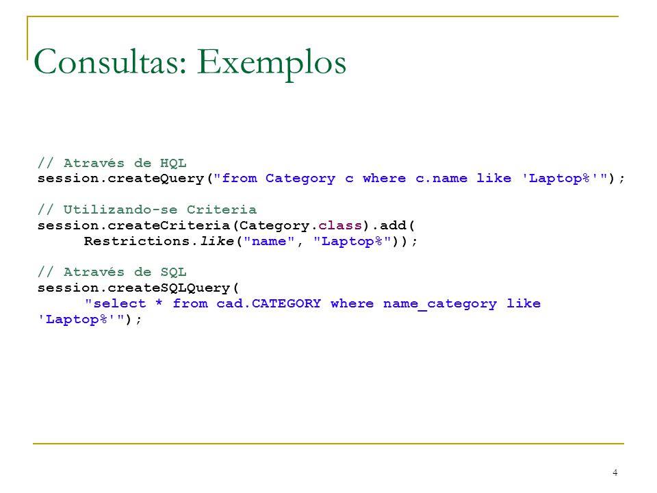 4 Consultas: Exemplos // Através de HQL session.createQuery(