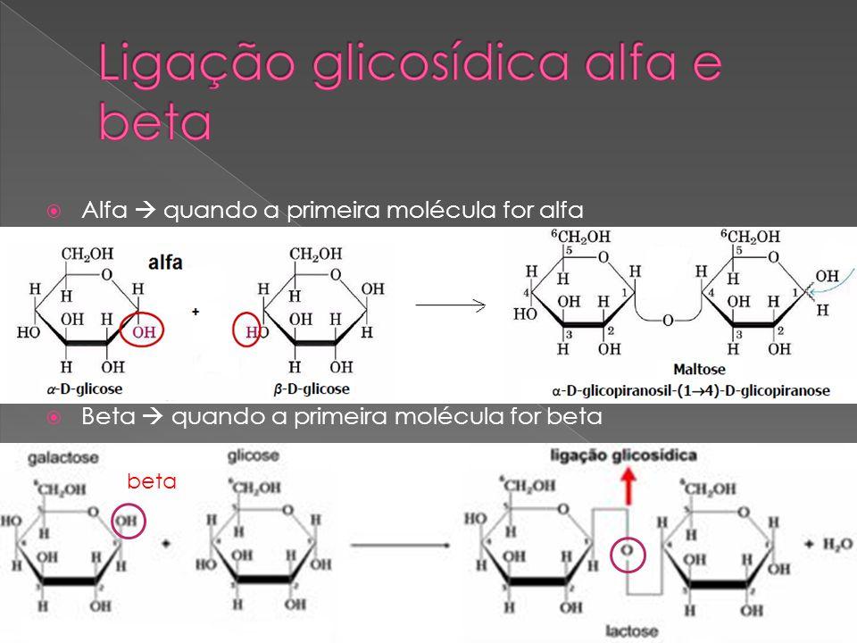 Alfa quando a primeira molécula for alfa Beta quando a primeira molécula for beta beta