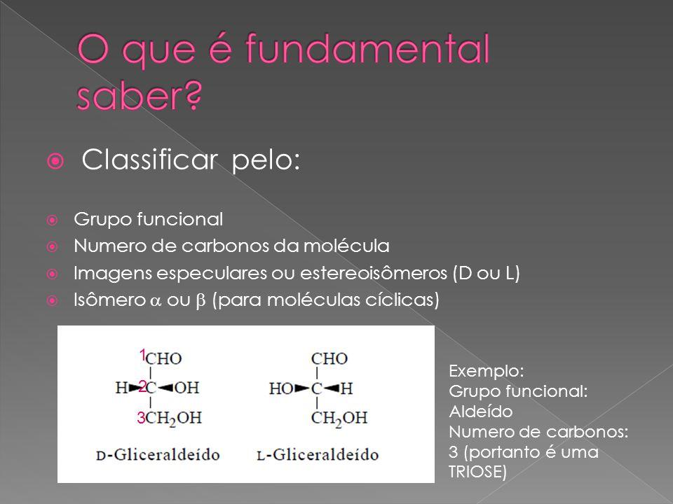 Classificar pelo: Grupo funcional Numero de carbonos da molécula Imagens especulares ou estereoisômeros (D ou L) Isômero ou (para moléculas cíclicas)