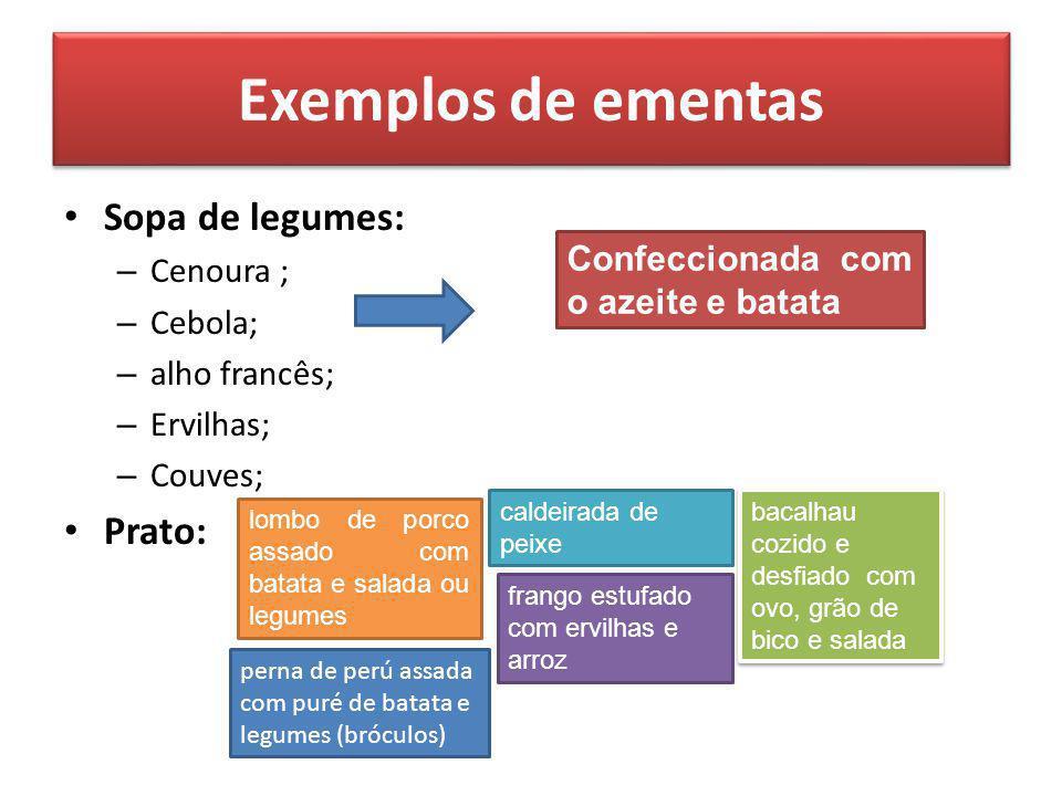 Exemplos de ementas Sopa de legumes: – Cenoura ; – Cebola; – alho francês; – Ervilhas; – Couves; Prato: Confeccionada com o azeite e batata lombo de p