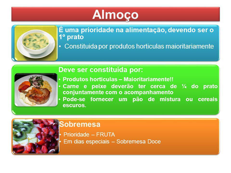Almoço É uma prioridade na alimentação, devendo ser o 1º prato Constituida por produtos horticulas maioritariamente Deve ser constituída por: Produtos