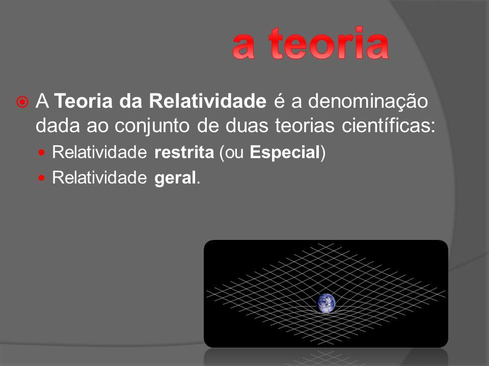 A Teoria da Relatividade é a denominação dada ao conjunto de duas teorias científicas: Relatividade restrita (ou Especial) Relatividade geral.