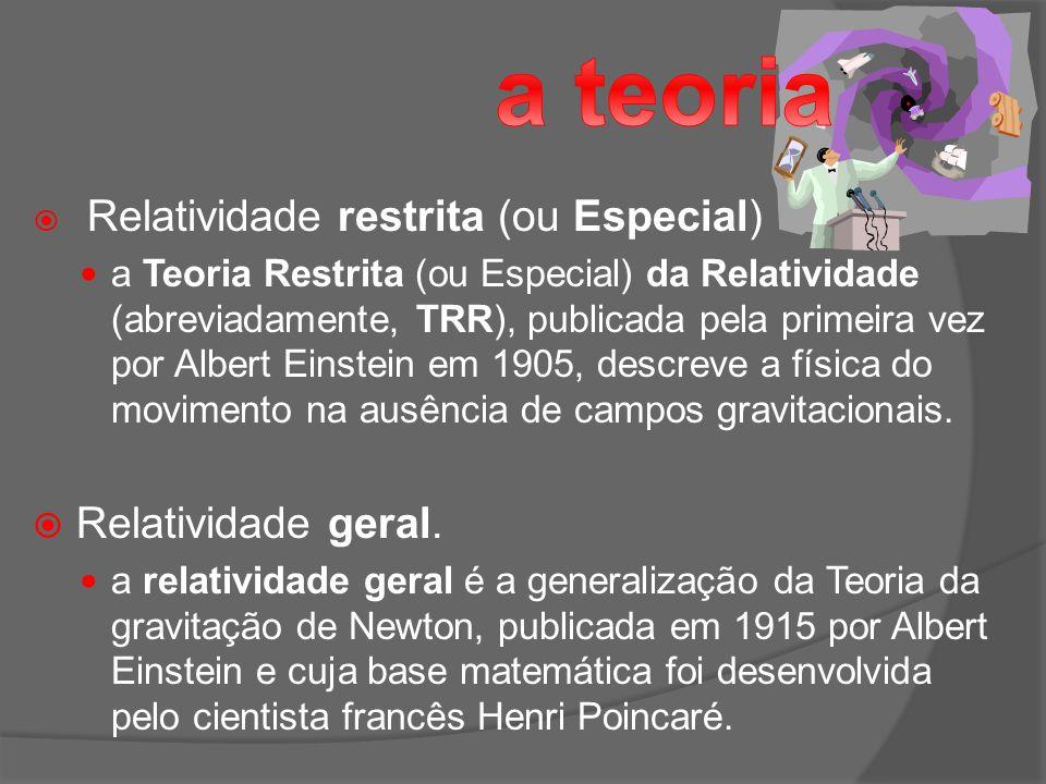 Relatividade restrita (ou Especial) a Teoria Restrita (ou Especial) da Relatividade (abreviadamente, TRR), publicada pela primeira vez por Albert Einstein em 1905, descreve a física do movimento na ausência de campos gravitacionais.