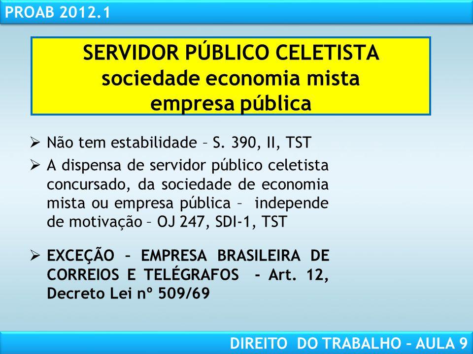 RESPONSABILIDADE CIVIL AULA 1 PROAB 2012.1 DIREITO DO TRABALHO – AULA 9 SERVIDOR PÚBLICO CELETISTA sociedade economia mista empresa pública Não tem es