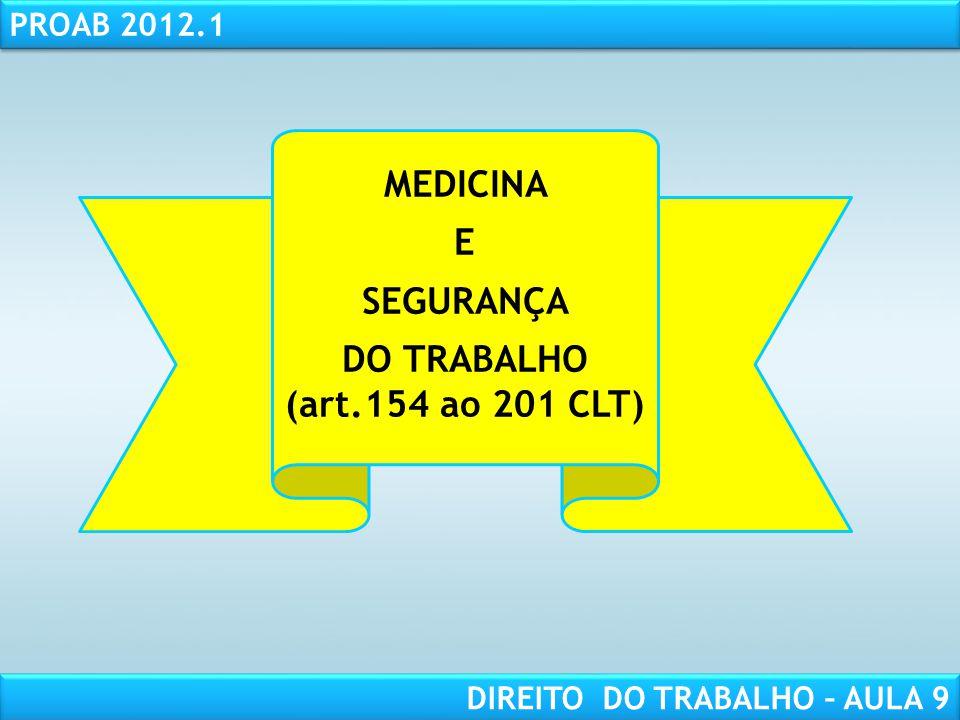 RESPONSABILIDADE CIVIL AULA 1 PROAB 2012.1 DIREITO DO TRABALHO – AULA 9 MEDICINA E SEGURANÇA DO TRABALHO (art.154 ao 201 CLT)
