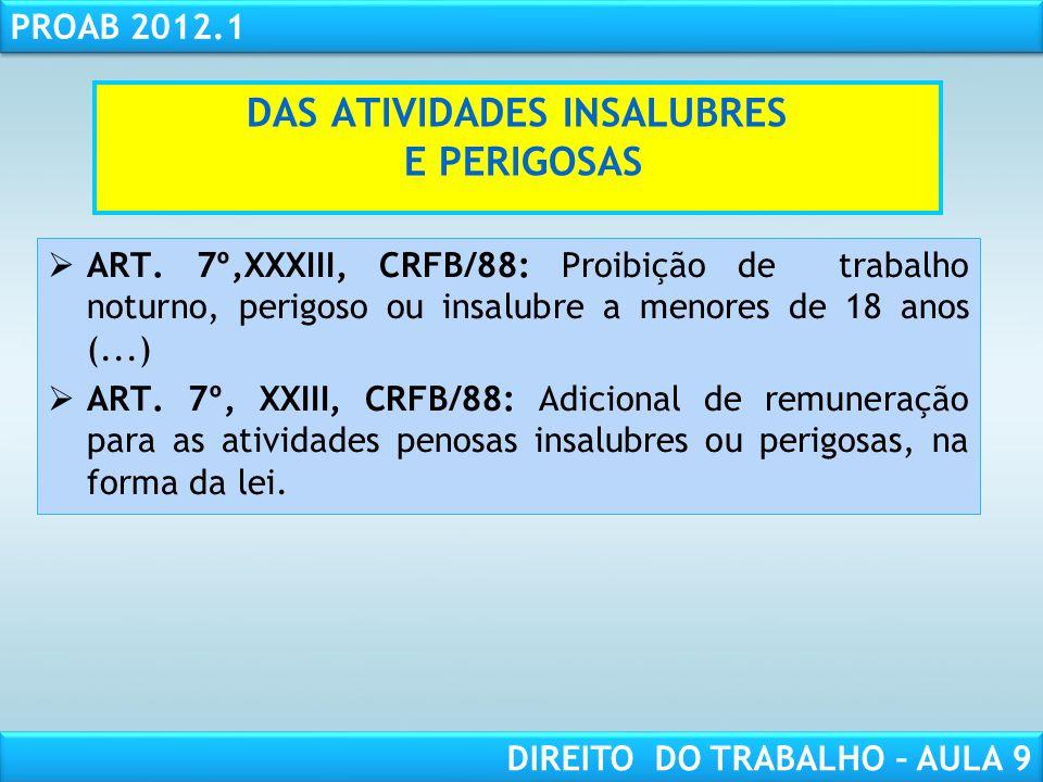 RESPONSABILIDADE CIVIL AULA 1 PROAB 2012.1 DIREITO DO TRABALHO – AULA 9 DAS ATIVIDADES INSALUBRES E PERIGOSAS ART. 7º,XXXIII, CRFB/88: Proibição de tr