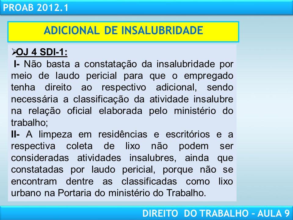 RESPONSABILIDADE CIVIL AULA 1 PROAB 2012.1 DIREITO DO TRABALHO – AULA 9 ADICIONAL DE INSALUBRIDADE OJ 4 SDI-1: I- Não basta a constatação da insalubri