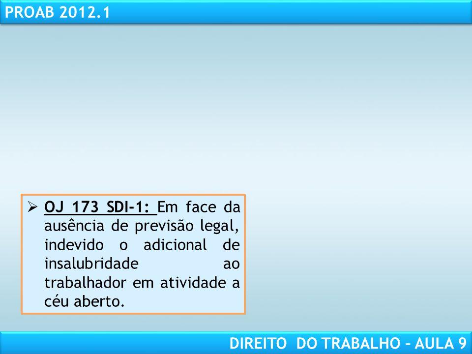 RESPONSABILIDADE CIVIL AULA 1 PROAB 2012.1 DIREITO DO TRABALHO – AULA 9 OJ 173 SDI-1: Em face da ausência de previsão legal, indevido o adicional de i